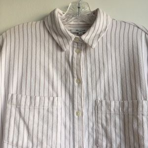 Madewell Tops - Madewell ivory flannel Sunday shirt in stripe sz M